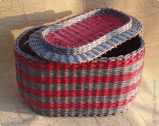 Поделка изделие Плетение Овальные плетёные изделия Трубочки бумажные фото 4