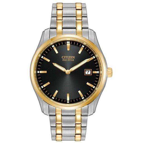 Citizen  Eco-Drive Men's Dress Bracelet Watch ($275) ❤ liked on Polyvore featuring men's fashion, men's jewelry, men's watches, two tone, mens black face watches, mens stainless steel watches, mens watches, citizen mens watches and mens bracelet watch