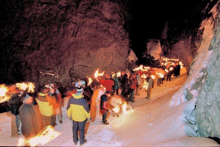 Torchlight procession through Serrai di Sottoguda #dolomitistars