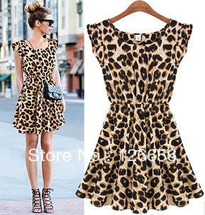 Aliexpress.com : Buy free shipping/Fashion women's 2013 Women summer o neck sleeveless pleated slim waist leopard print one piece dress on coraldaisy. $25.00