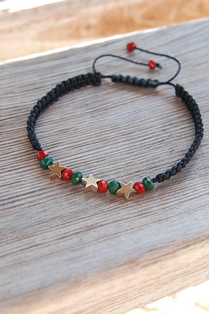 Minimalist bracelets, Simple Bracelet, Christmas Jewelry, Unisex braselets, Shamballa bracelets, Everyday Bracelet, Everyday jewelry, Macrame bracelets, Star Bracelets, Adjustable bracelets, Stackable Bracelet, Stocking Filler, Secret Santa Gift, Gift Under 10, Xmas bracelets, Red and Green Bracelet