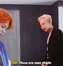 """Bangtan fanboying over Jimin's amazing thighs makes me question their sexuality XDD Jiminie looks so smug though he's all""""Damn right y'all I got nice thighs """""""