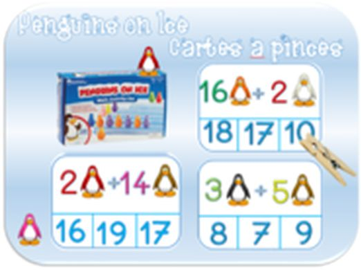 Mes élèves aiment tellement le jeu des pingouins on ice, que je leur ai fait des cartes à pinces, à leur demande. 3 séries de 9. U + U DU+ U U + DU