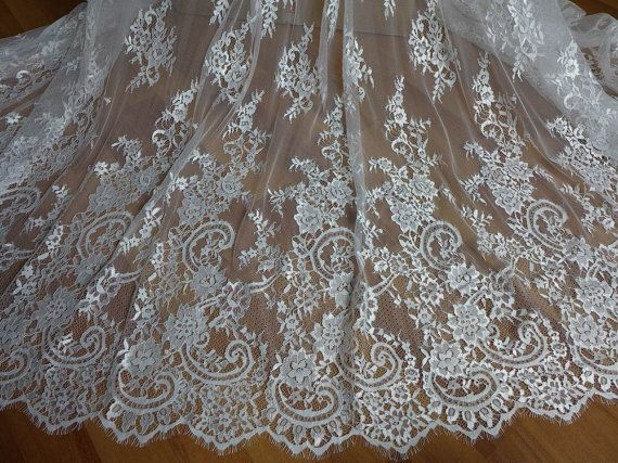 Ivory French Chantilly Lace Fabric Graceful Floral by lacelindsay