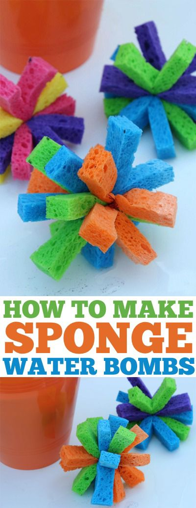 DIY Sponge Water Bombs- Super Simple and fun alternative to water balloons. These will be SUPER fun for the kiddos this summer.