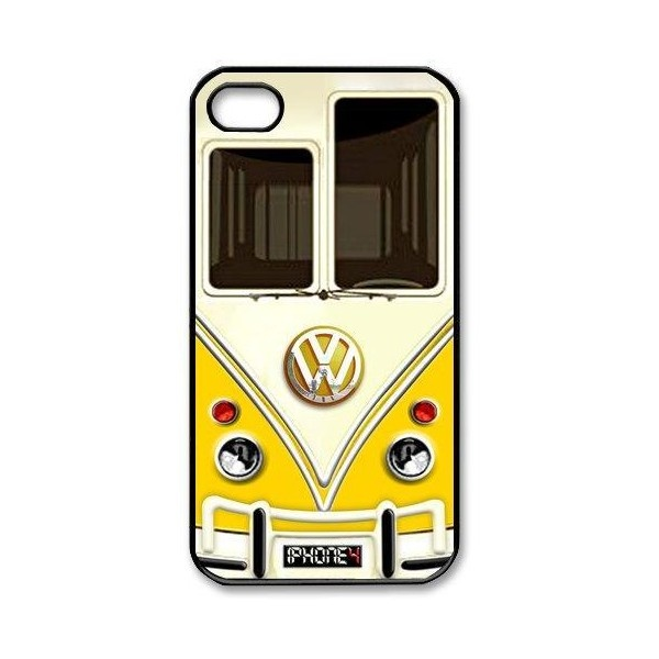 NEW yellow volkswagen Apple iPhone 4 4s Case Black white Case ($17) ❤ liked on Polyvore