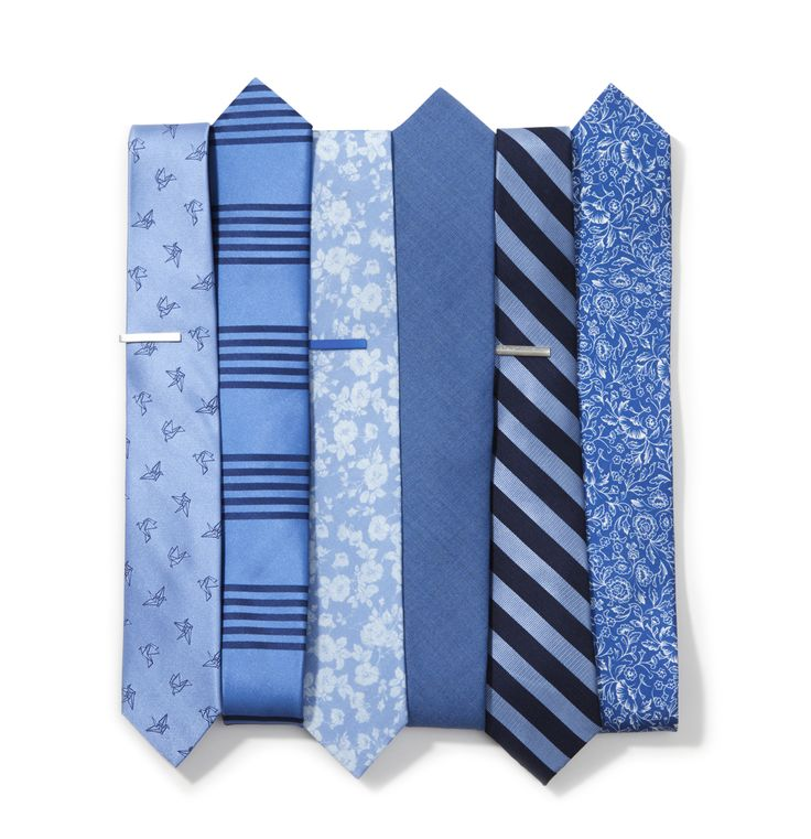 Six blue ties we're wearing right now. $19 at www.TheTieBar.com