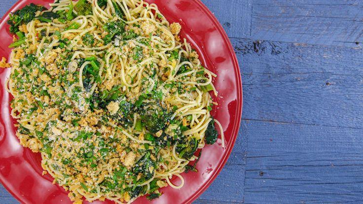 Spaghetti Aglio e Olio (Garlic and Oil) with Broccoli Rabe, Preserved Lemon and Breadcrumbs Recipe