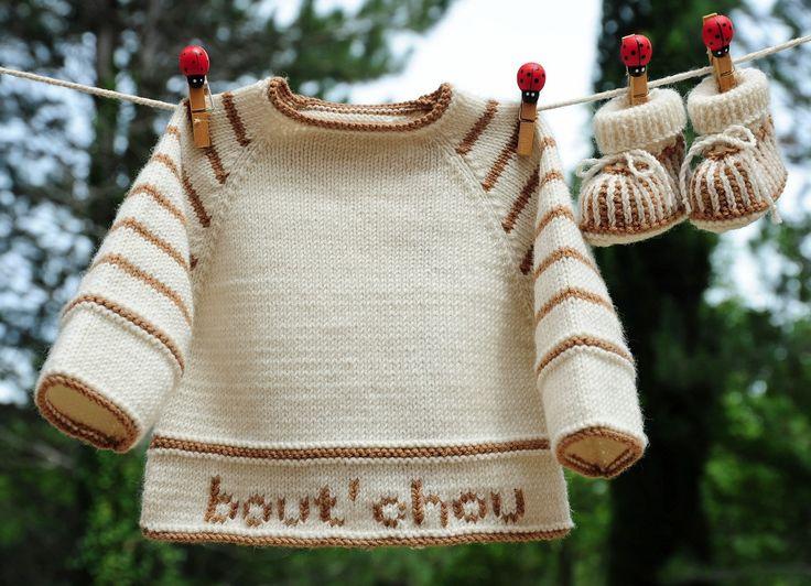layette ensemble mérinos naissance-1 mois neuf tricoté main brassière et chaussons : Mode Bébé par com3pom
