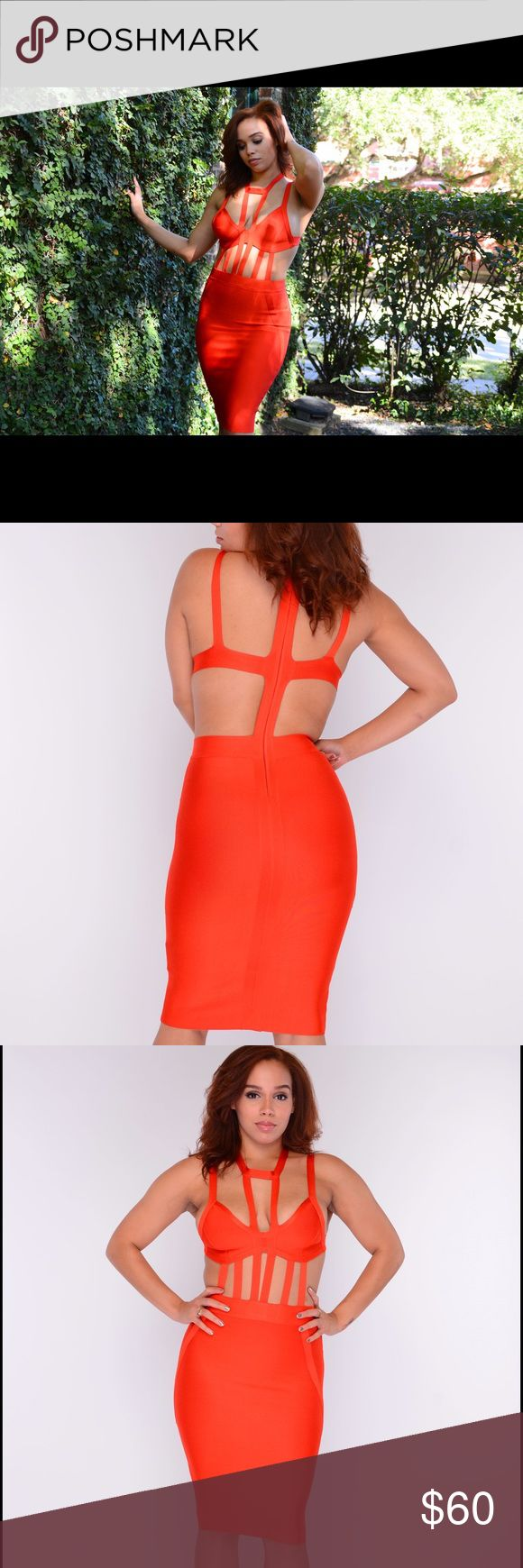 Red Bandage Dress High Quality Red Bandage Cage Dress. Dresses Midi