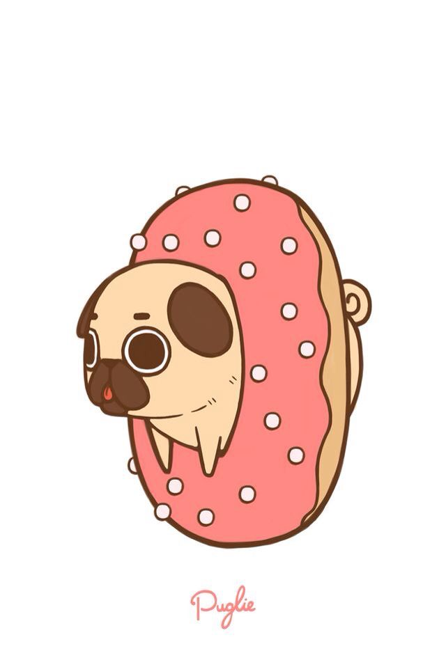 Cute donut-pug wallpaper