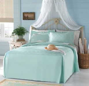 Light Seafoam Green Quilted Bedspread King Size New
