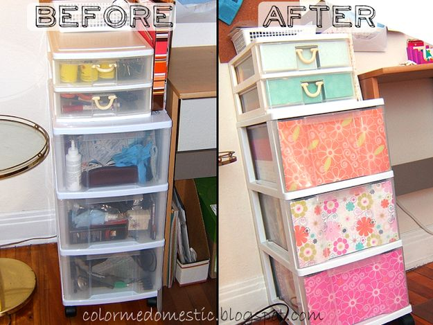 Pick up cute wrapping paper and revamp your plastic storage bins. | 18 DIY Dollar-Store Projects That'll Transform Your Dorm For Cheap