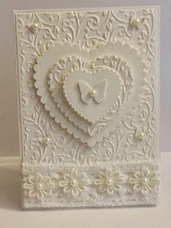 My little craftie corner - lovely white-on-white card