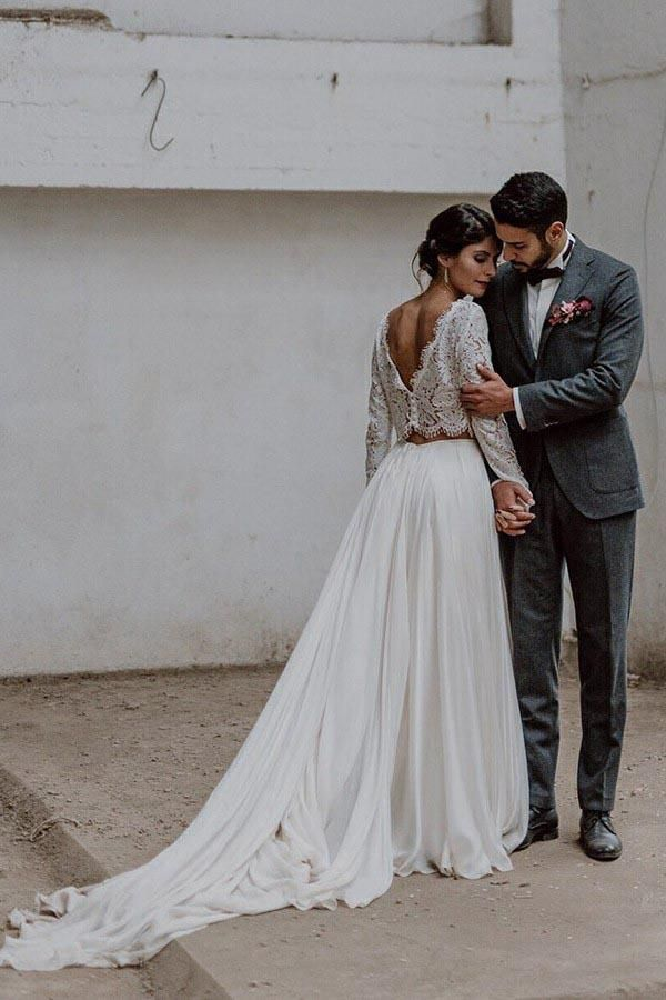 Pin By Molly Harrison On Fashion Dresses Two Piece Wedding Dress 2 Piece Wedding Dress Wedding Dresses Lace