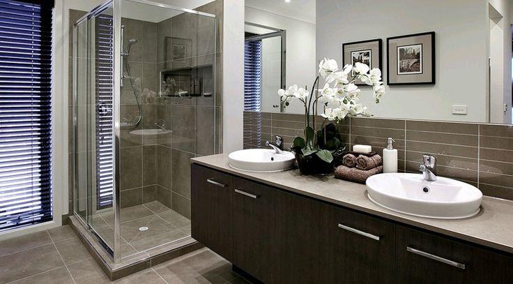 Ensuite Tiles - Wet cement grooved 300x600, (Vanity wall tiles)  LSCFL1035   Info: Floor & Shower wall tiles  Grout: Light Grey