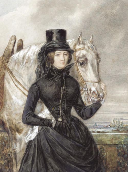 shewhoworshipscarlin:  Woman in a riding habit, 1842.
