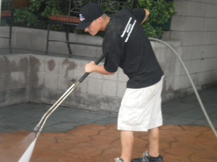 Pressure washing stamped concrete
