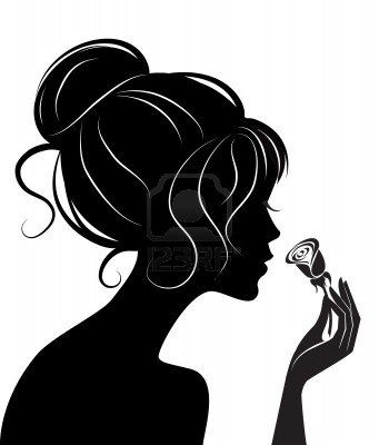Beauty girl silhouette with rose vector illustration for Female silhouette tattoo