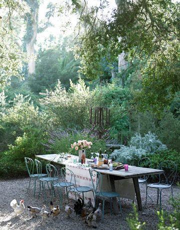 This is a beautiful settingOutdoor Dining, Mediterranean Gardens, Santa Barbara, Bantam Chicken, Gardens Dining, To Fresh, Outside Spaces, Gardens Parties, Outdoor Spaces