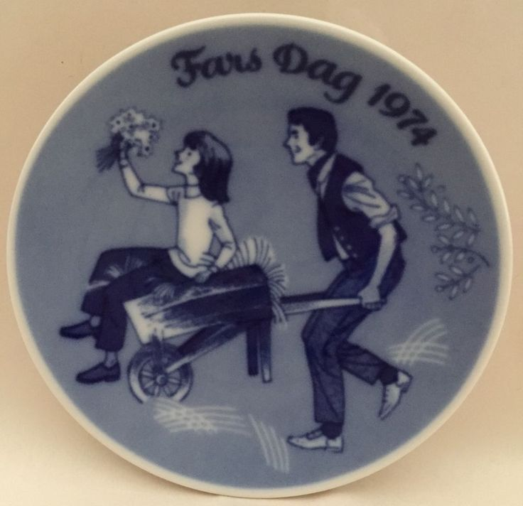"Porsgrund Norway 1974 Fars Dag Father's Day Plate Blueware Wheelbarrow 5"" VTG #Porsgrund"