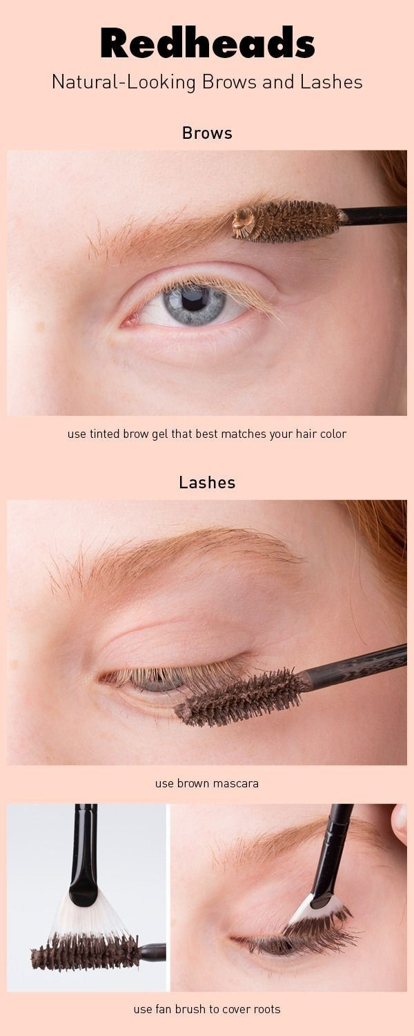 If your eyebrows and lashes are fair and you're looking to darken them, you can use a tinted brow gel and fan brush.  (Beauty Hacks)
