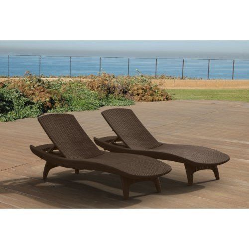 Outdoor Patio Rattan Chair Set of 2 Lounger Pool Chairs Garden Furniture Brown #Kbrand