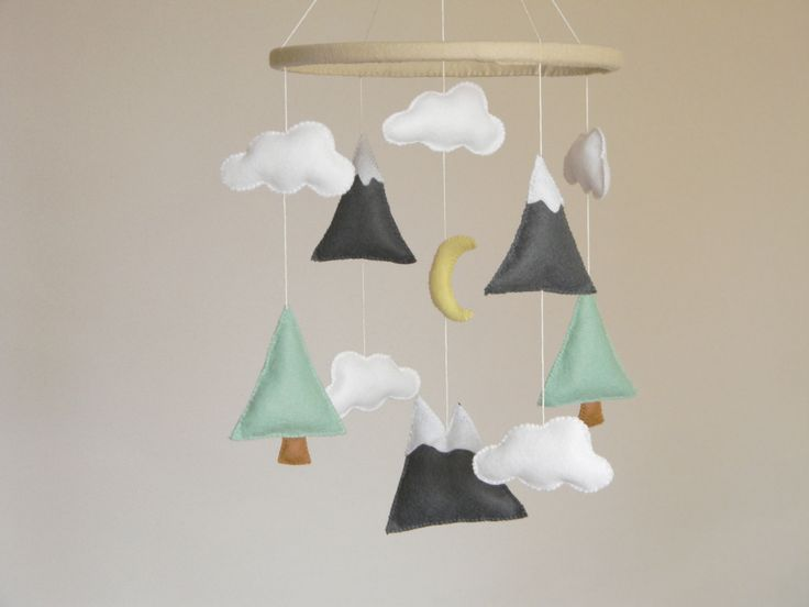 Mountains Baby Mobile Baby Crib Mobile Modern Nursery mobile Felt Mountains and Tree Mountain nursery decor Cloud Cot Mobile Mint Gray (60.00 USD) by Rainbowsmileshop