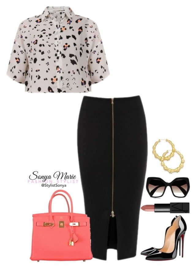 Untitled #266 by stylistsonyamarie on Polyvore featuring polyvore fashion style Christian Louboutin Hermès Thalia Sodi Prada NARS Cosmetics clothing