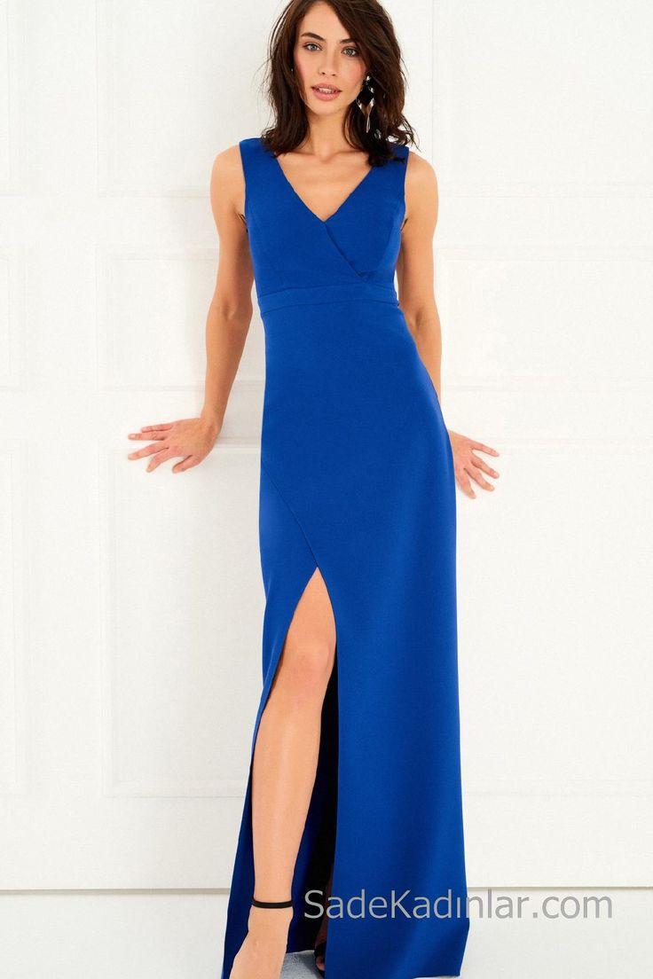 2018 Abiye Elbiseler Saks Mavi Uzun Askılı V Yakalı Yırtmaçlı