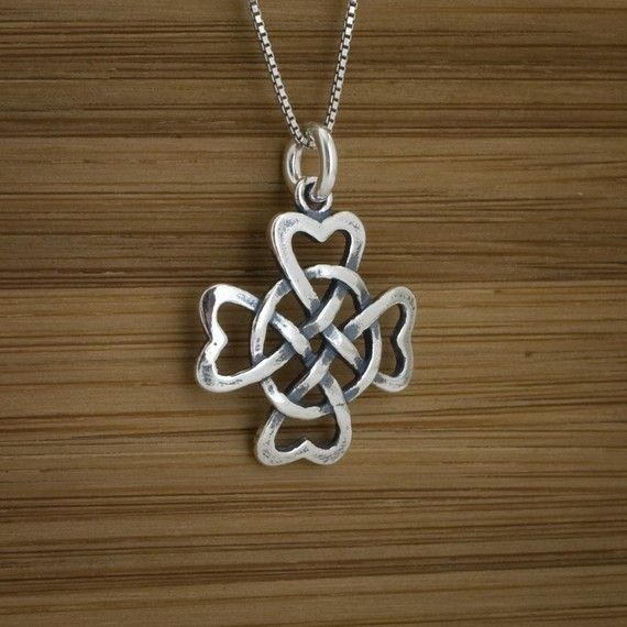 Celtic Hearts in a Shamrock - STERLING SILVER - (Just the charm, chains are sold separately.) on Etsy, $15.00