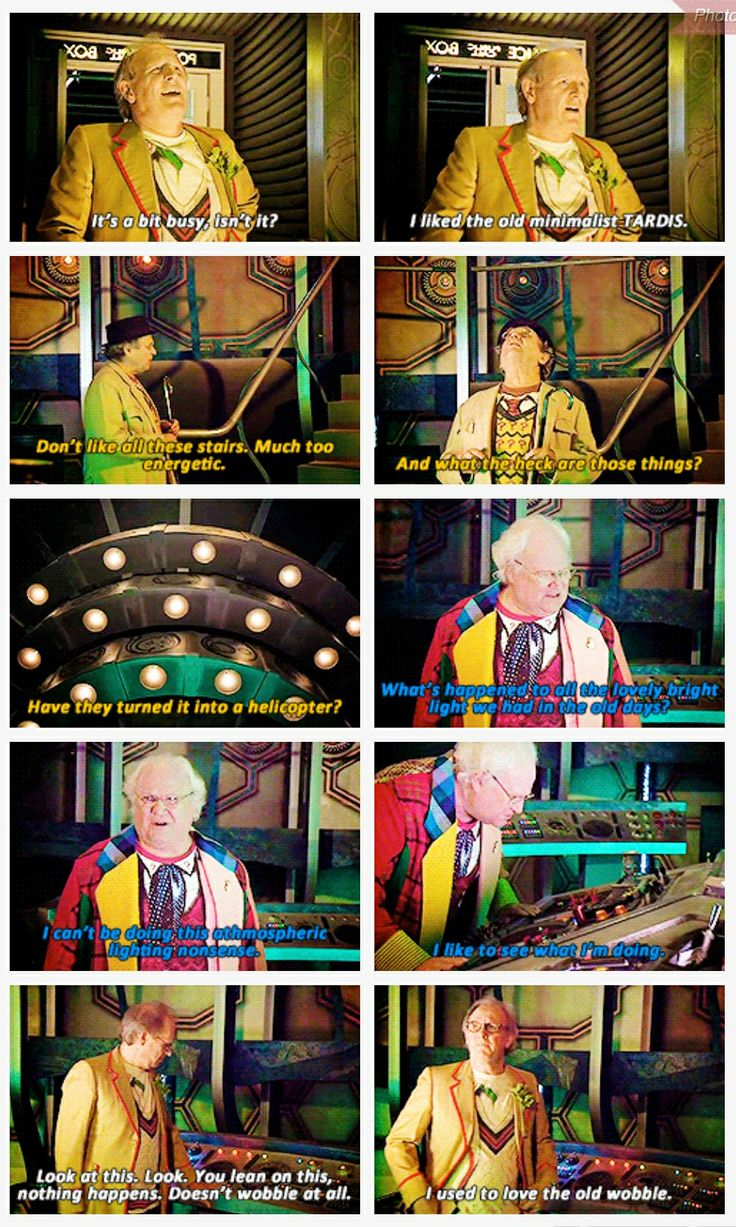 The Fifth, Sixth and Seventh Doctors are not fans of the new TARDIS.