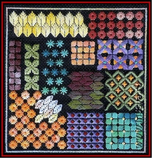 Sampler - embroidery stitch patterns, design by Orna Willis