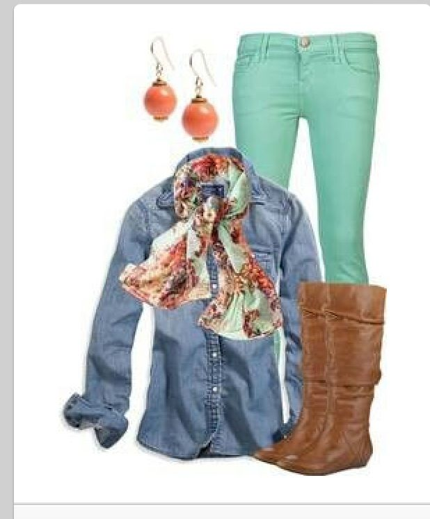 Colored jeans. Different scarf tho