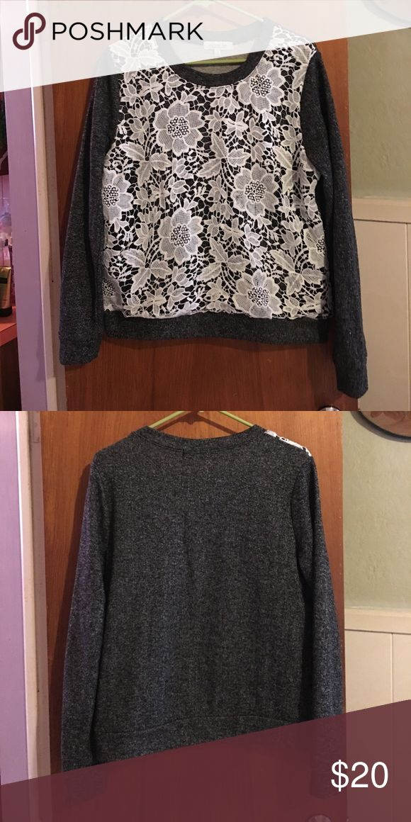 Grey lace front sweatshirt sz L Worn once. Ladies lightweight grey sweatshirt with white lace floral print front sz L. Pit to pit is 20 inches across & unstretched, pit to bottom 14.5 Active USA Tops Sweatshirts & Hoodies
