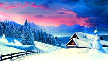 Winter Trees Cabins Pink Sky wallpapers and stock photos