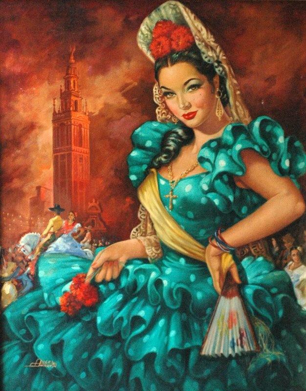 Angel Martin Oil Painting Sara Montiel Spanish Actress Mexican Calendar Art