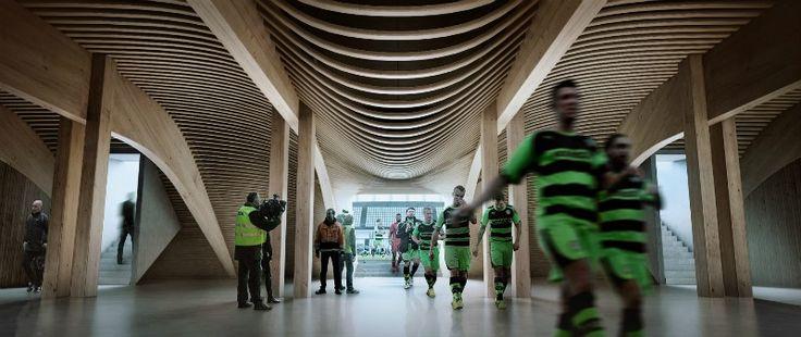 arquitectura, arquitecto, diseño, arquitecta, design, Zaha Hadid Architects, estadio, futbol, Forest Green Rovers, sostenible, sostenibilidad, ecología, ecológico, verde, construcción verde, madera, carbono, reserva natural, eco parque, olímpico