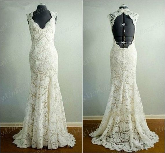 New white ivory lace wedding dress retro lace bridal gown for White fishtail wedding dress