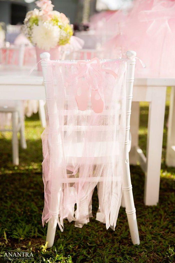 Tulle ribbon chair banner from an Elegant Ballerina Birthday Party on Kara's Party Ideas   KarasPartyIdeas.com (18)