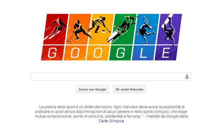 Google dedica il proprio Doodle alla Carta Olimpica e i diritti dei gay.