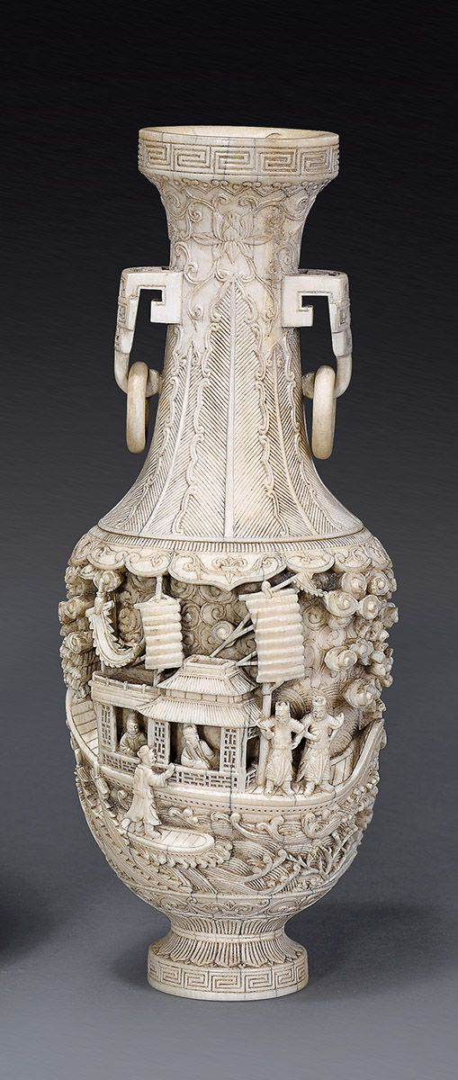 An ivory vase Qing dynasty, 18th/19th century  the ovoid body carved in deep undercut relief with figures in a sailing junk and men on horseback brandishing swords, in a continuous seascape with trees on a rocky shore and a dragon and tiger among scrolling clouds, below stiff leaves and lotus scrolls on the tall waisted neck with double loose ring handles 18 cm high