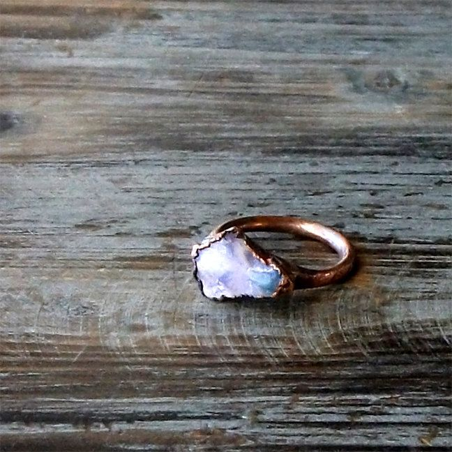 Opal Ring Gemstone Ring Birthstone Ring Stone Ring October Ethereal Purple Violet Natural Raw Mineral Artisan