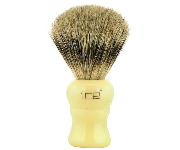 The Ice Ivory Pure Badger brush. The only mix in this brush the blend between affordability and quality. The all badger hair brush head soaks and retains water for the best lather around. Available at House of Knives.