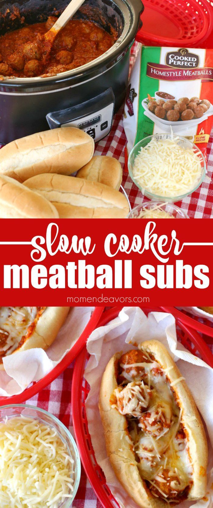 Slow Cooker Meatball Subs - this tasty & hearty dish is easy to make in the crock pot without heating up the whole house!