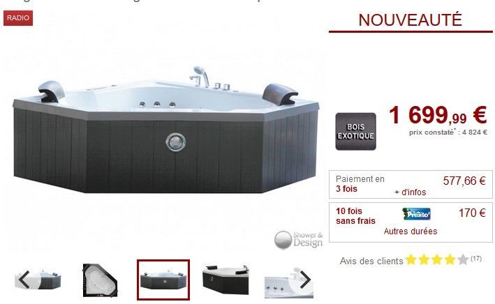 Baignoire balnéo d'angle SANTORINO 2 places 350L pas cher prix promo Baignoire balnéo Vente Unique 1 699.99 € TTC au lieu de 4 824 €