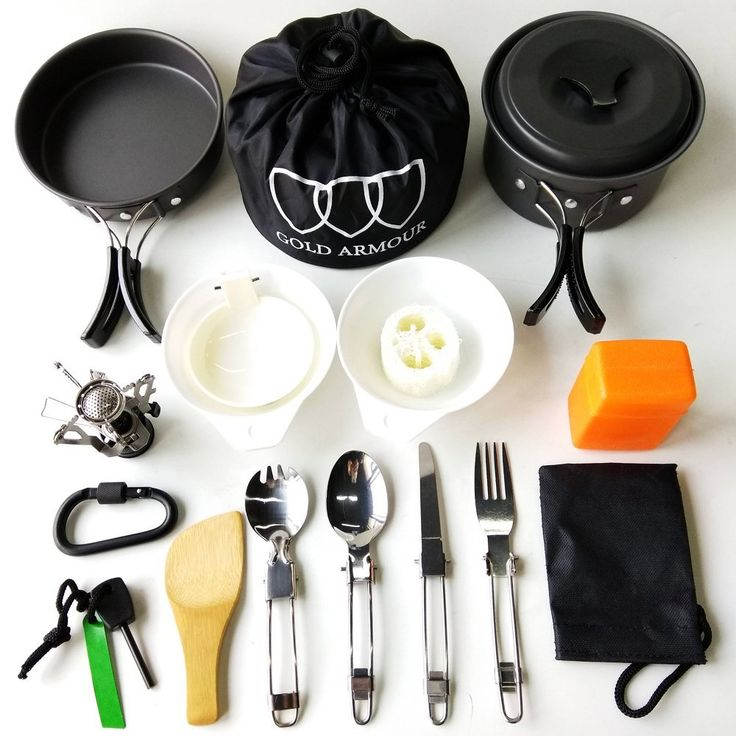 Amazon.com : 17Pcs Camping Cookware Mess Kit Backpacking Gear & Hiking Outdoors Bug Out Bag Cooking Equipment Cookset | Lightweight, Compact, & Durable Pot Pan Bowls (Black) : http://amzn.to/2eKkzkW