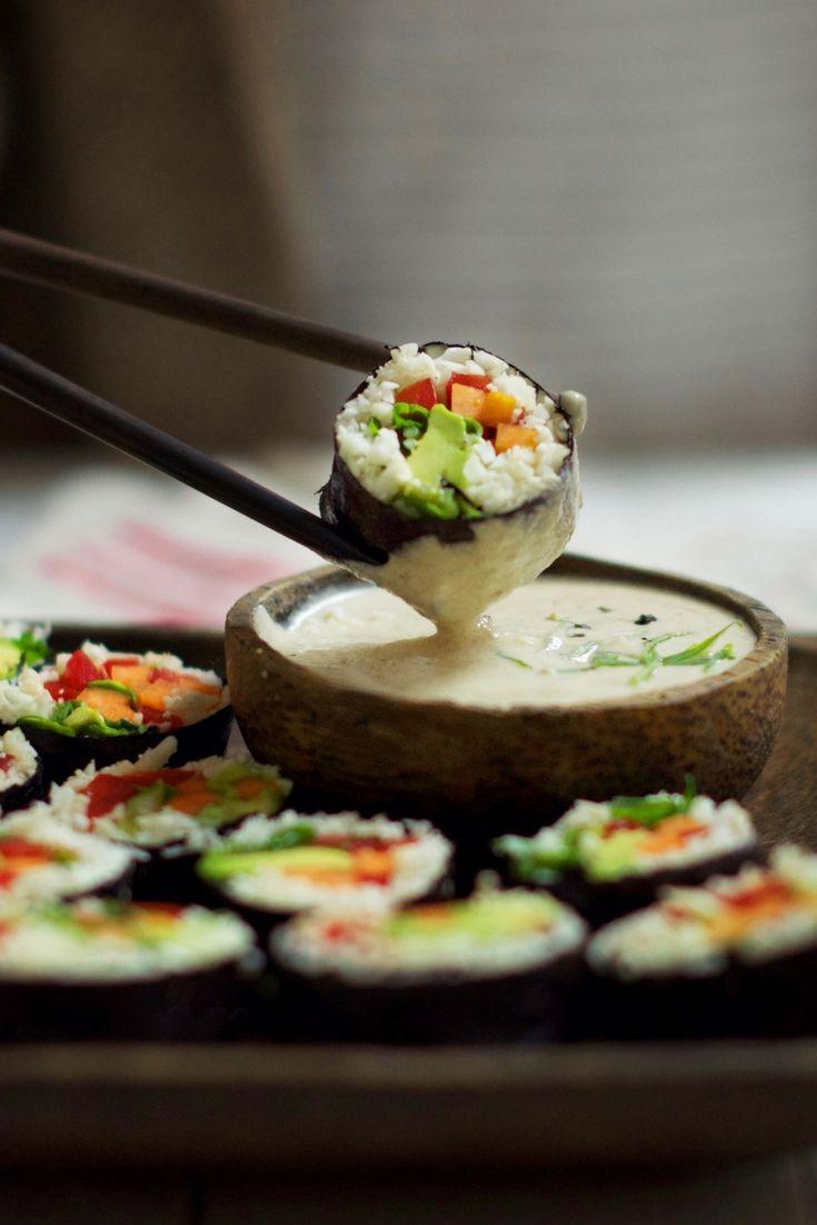 Making sushi is not as hard as you think. This cauliflower rice sushi is raw, vegan, gluten, dairy free, sugar free and super tasty! www.oliviabudgen.com #sushi #vegansushi