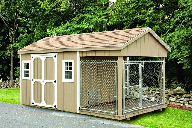 8 39 x18 39 shed dog kennel combination with 6 39 x8 39 run 4 39 x8 for Dog kennel shed combo plans