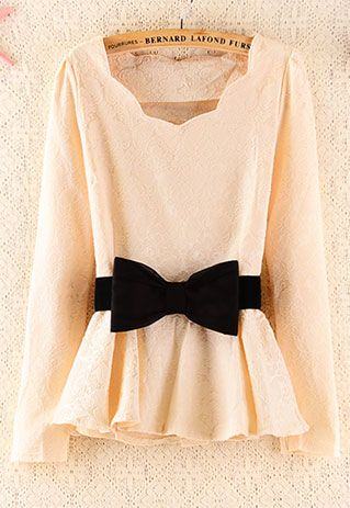 bow, scallops, and peplum in one shirt!!